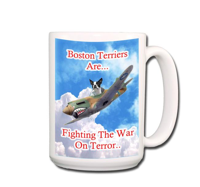 Boston Terrier War on Terror Coffee Tea Mug 15oz