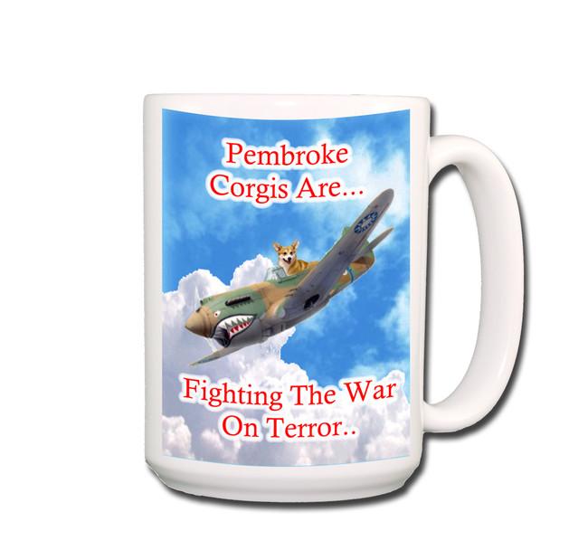 Pembroke Welsh Corgi War on Terror Coffee Tea Mug 15oz No 1