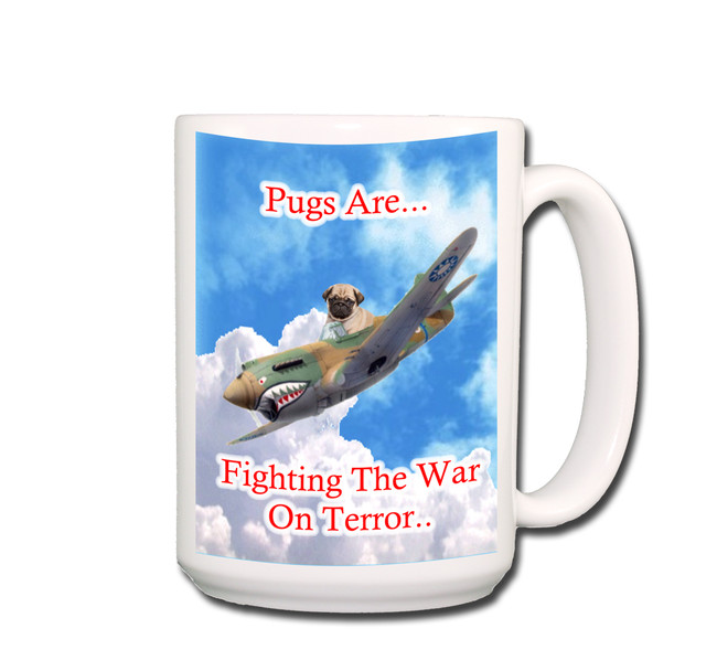 Pug War on Terror Coffee Tea Mug 15oz (Fawn)