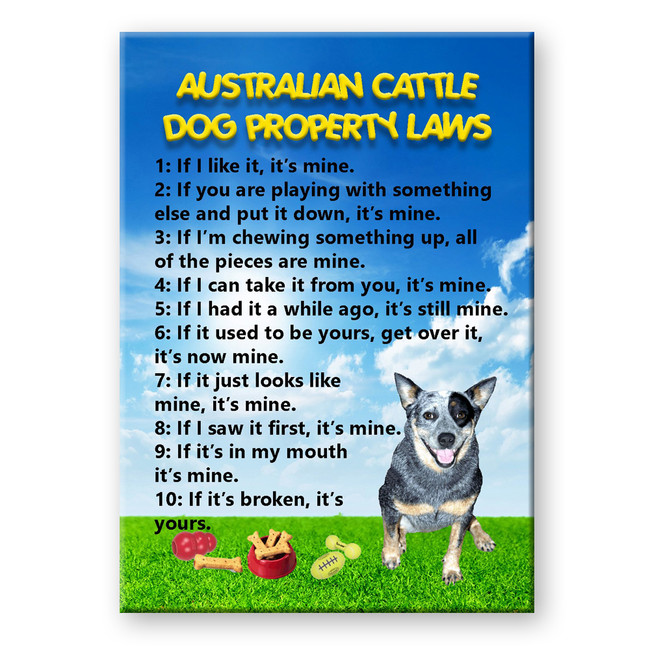 Australian Cattle Dog Property Laws Fridge Magnet