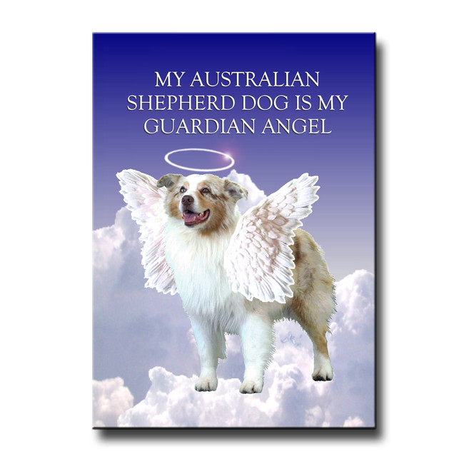 Australian Shepherd Dog Guardian Angel Fridge Magnet