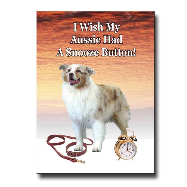 Australian Shepherd Dog Snooze Alarm Fridge Magnet