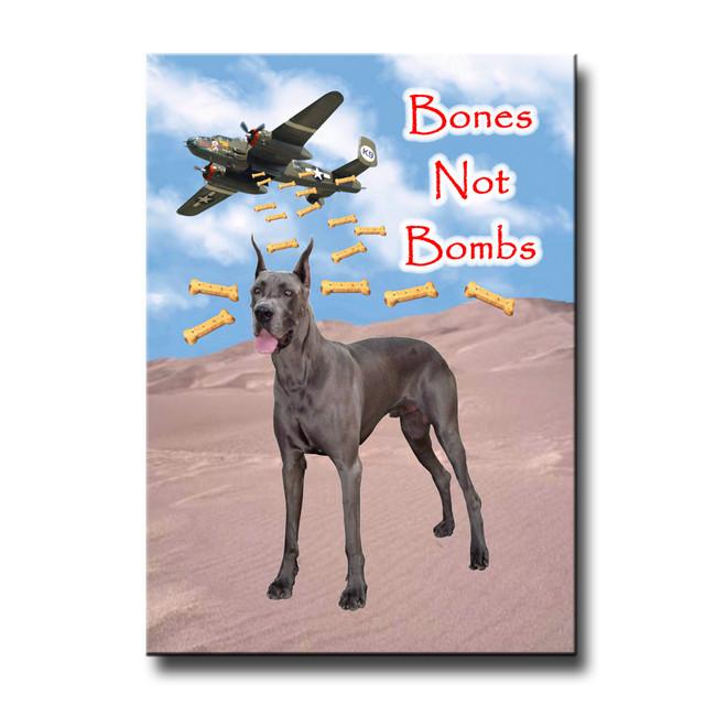 Great Dane Bones Not Bombs Fridge Magnet No 1