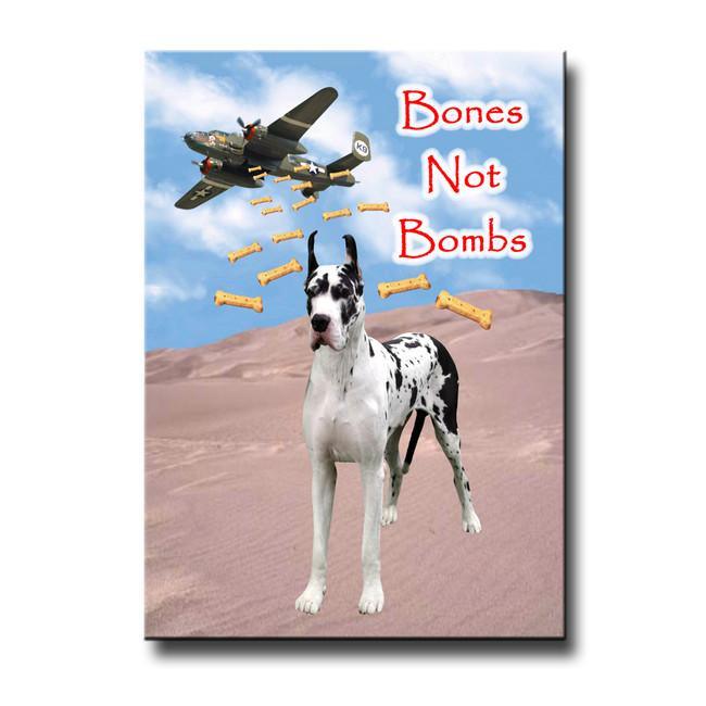 Great Dane Bones Not Bombs Fridge Magnet No 2