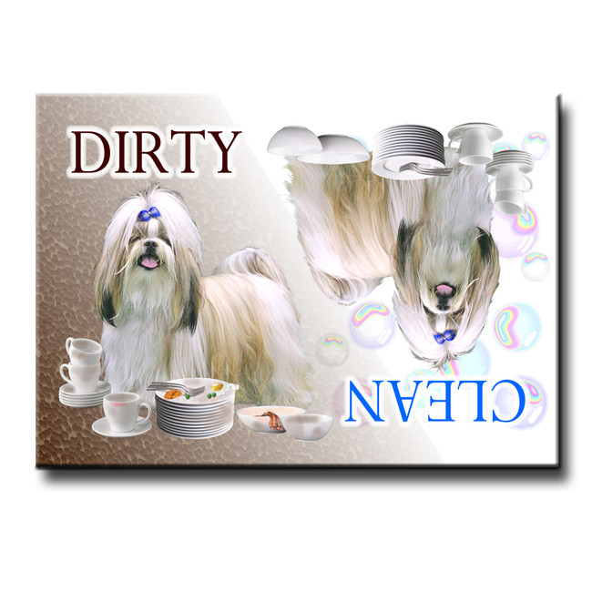Shih Tzu Clean Dirty Dishwasher Magnet