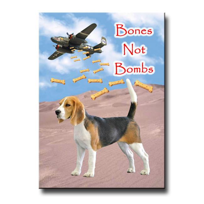 Beagle Bones Not Bombs Fridge Magnet