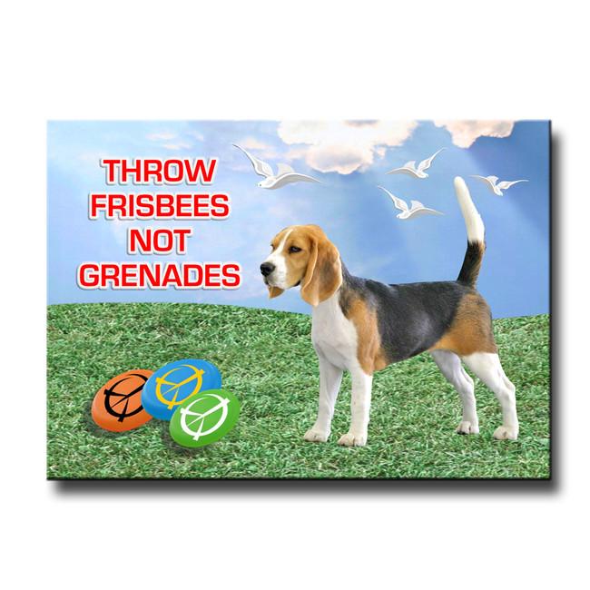 Beagle Frisbee Peace Fridge Magnet