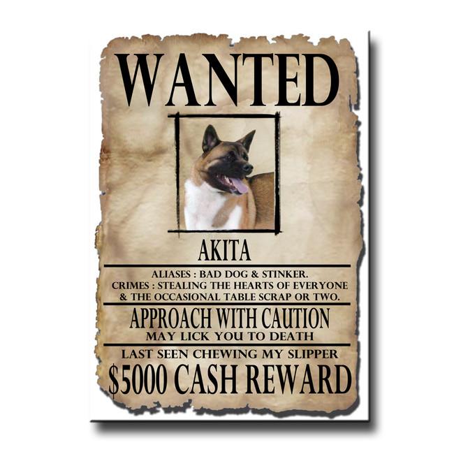 Akita Wanted Poster Fridge Magnet