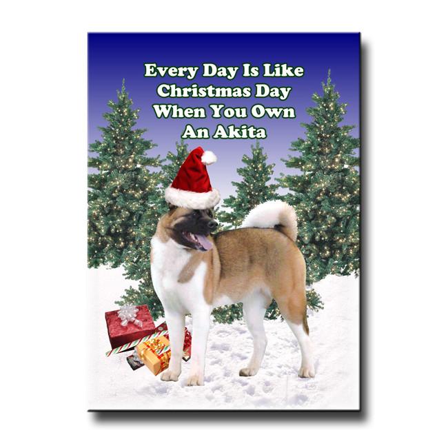 Akita Christmas Holidays Fridge Magnet