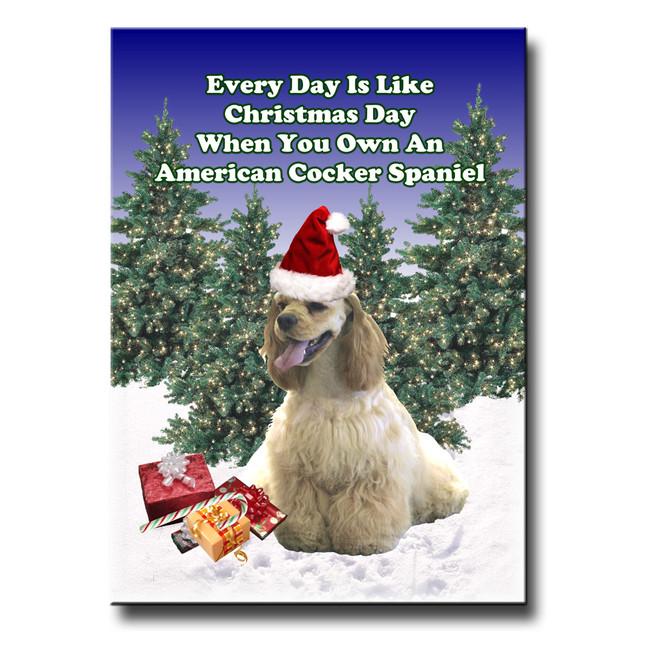 American Cocker Spaniel Christmas Holidays Fridge Magnet No 1