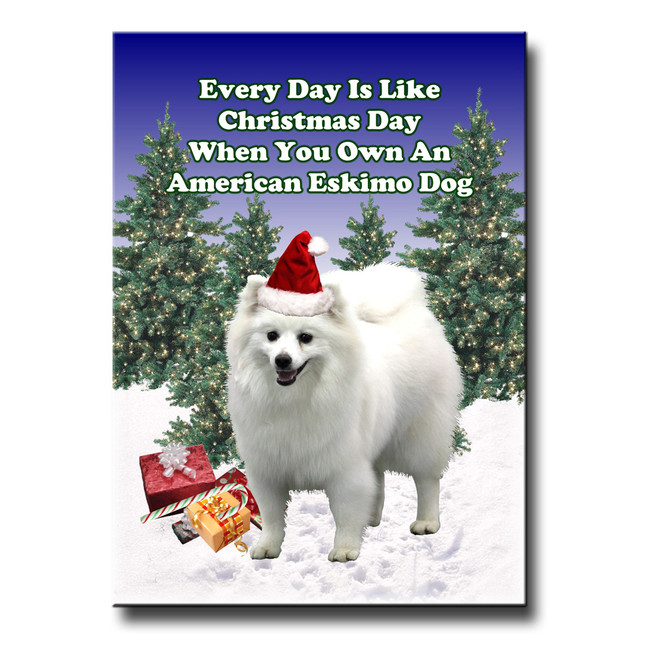 American Eskimo Dog Christmas Holidays Fridge Magnet