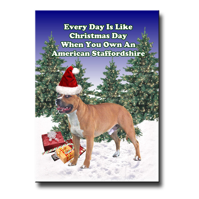 American Staffordshire Terrier Christmas Holidays Fridge Magnet