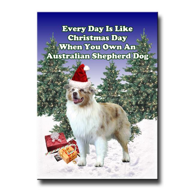 Australian Shepherd Dog Christmas Holidays Fridge Magnet