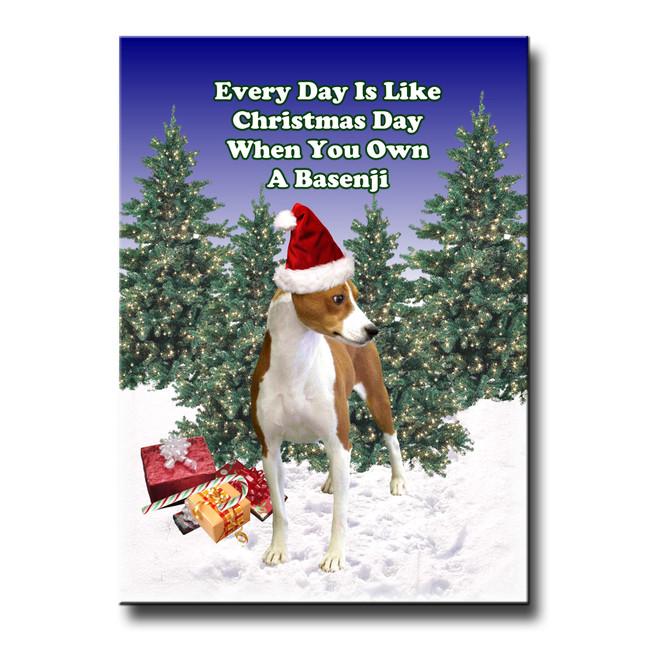Basenji Christmas Holidays Fridge Magnet No 1