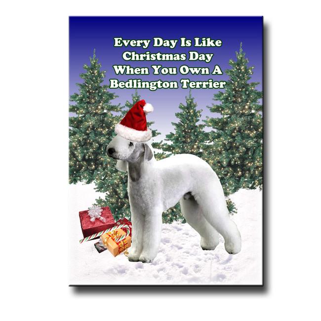 Bedlington Terrier Christmas Holidays Fridge Magnet