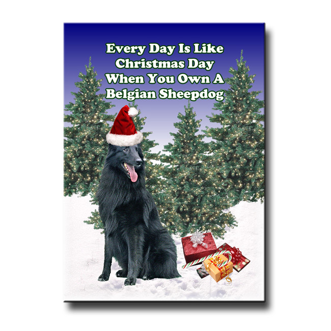 Belgian Sheepdog Christmas Holidays Fridge Magnet