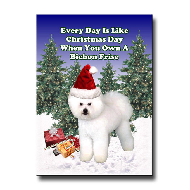 Bichon Frise Christmas Holidays Fridge Magnet