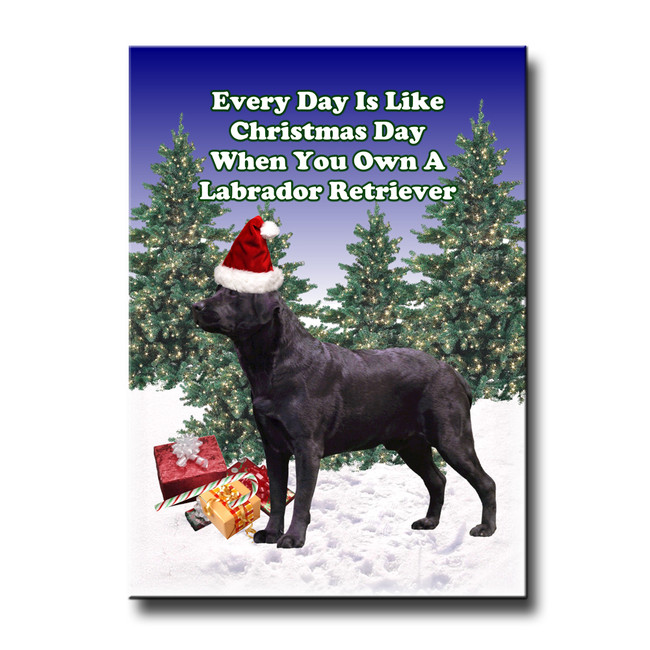 Labrador Retriever Christmas Holidays Fridge Magnet (Black)