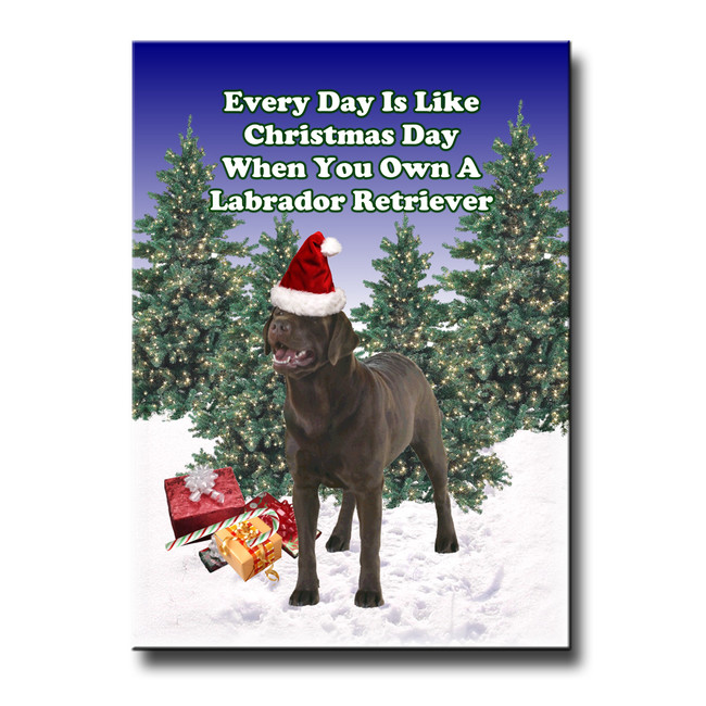 Labrador Retriever Christmas Holidays Fridge Magnet (Choc)