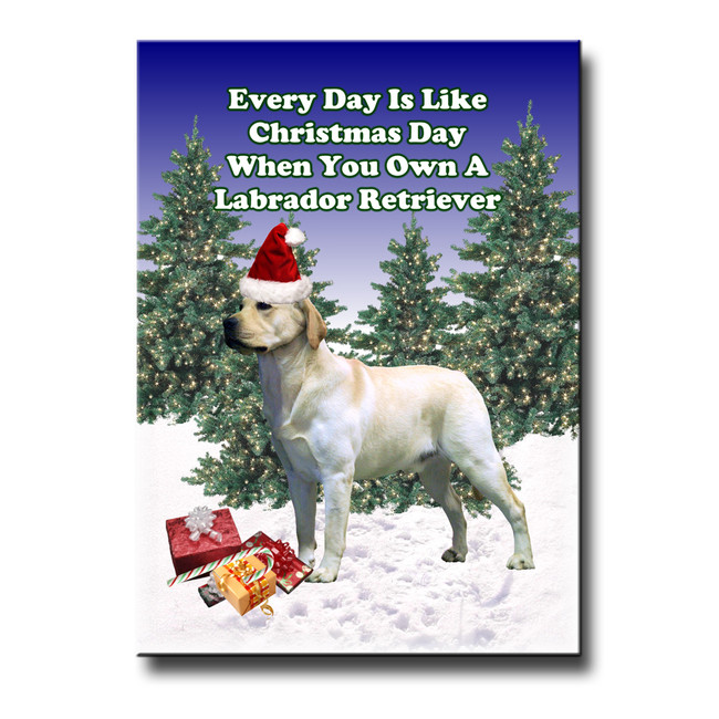 Labrador Retriever Christmas Holidays Fridge Magnet (Yellow)