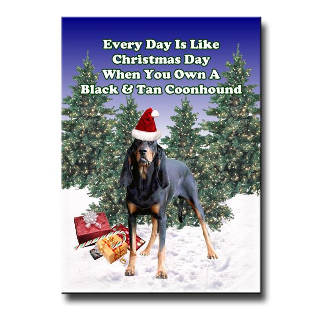 Black & Tan Coonhound Christmas Holidays Fridge Magnet