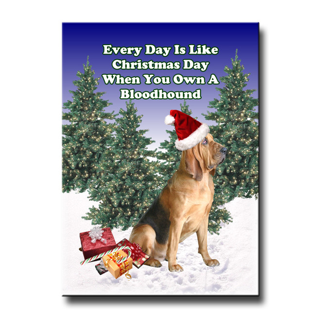 Bloodhound Christmas Holidays Fridge Magnet