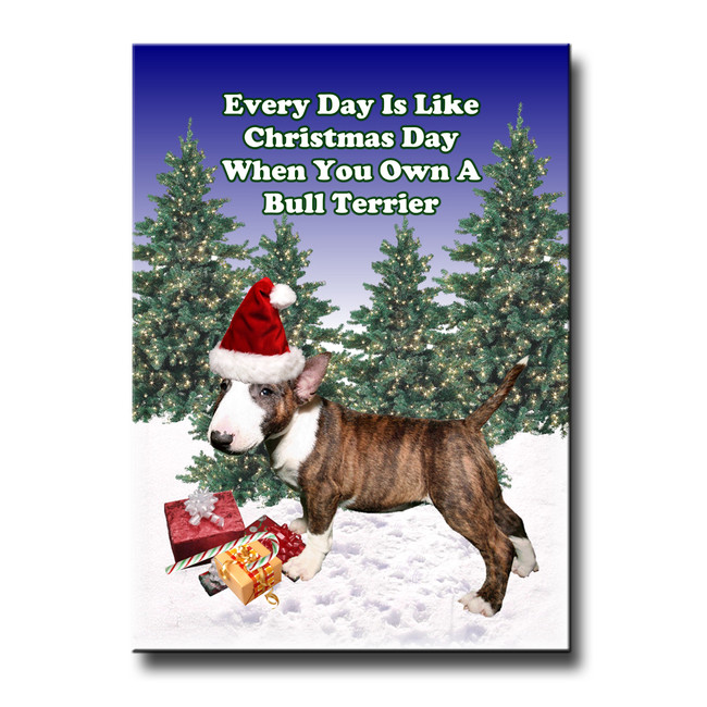 Bull Terrier Christmas Holidays Fridge Magnet No 2
