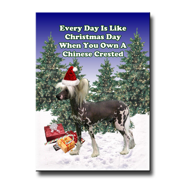 Chinese Crested Christmas Holidays Fridge Magnet