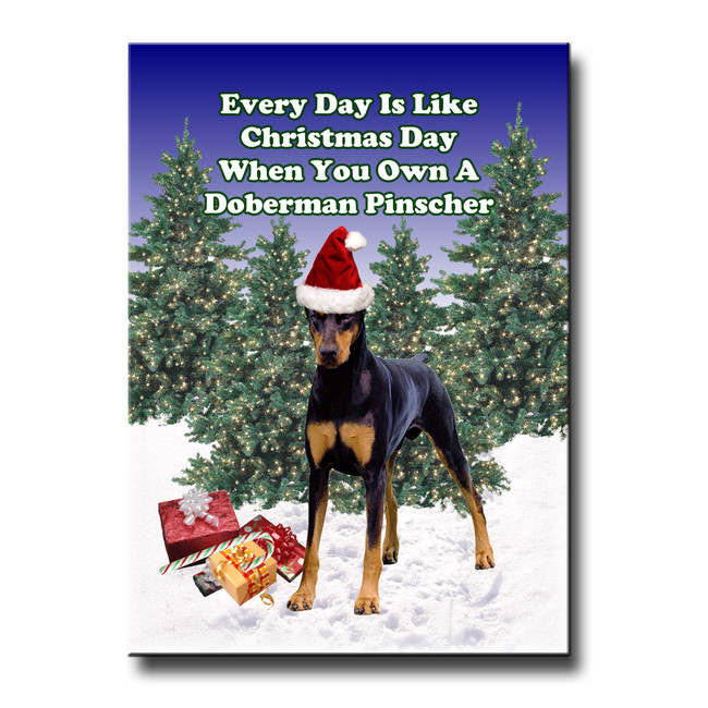 Doberman Pinscher Christmas Holidays Fridge Magnet No 1 (Black)