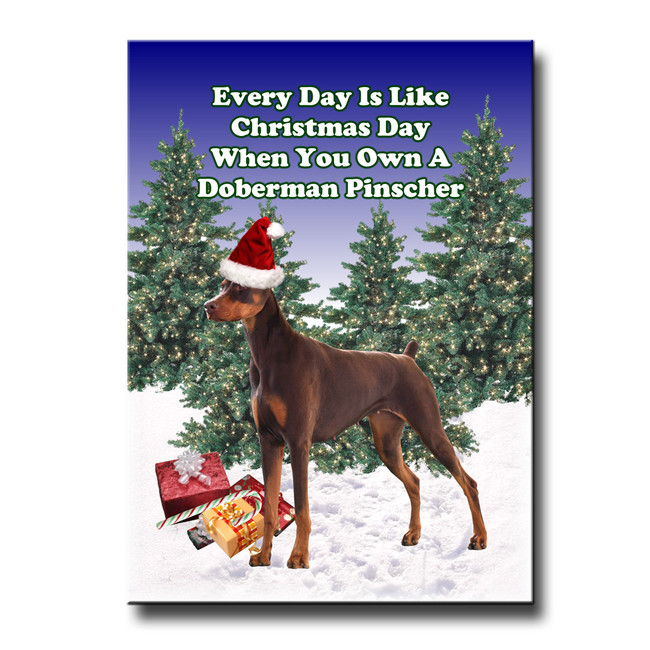 Doberman Pinscher Christmas Holidays Fridge Magnet No 2 (Red)