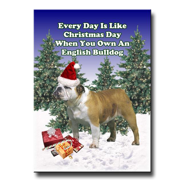 English Bulldog Christmas Holidays Fridge Magnet No 2