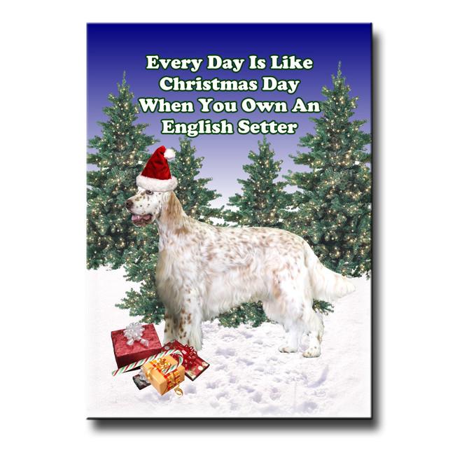 English Setter Christmas Holidays Fridge Magnet