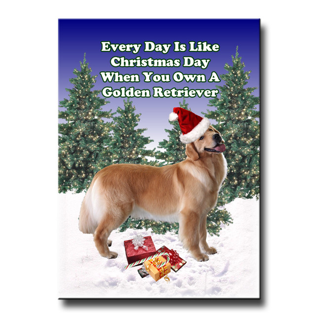 Golden Retriever Christmas Holidays Fridge Magnet