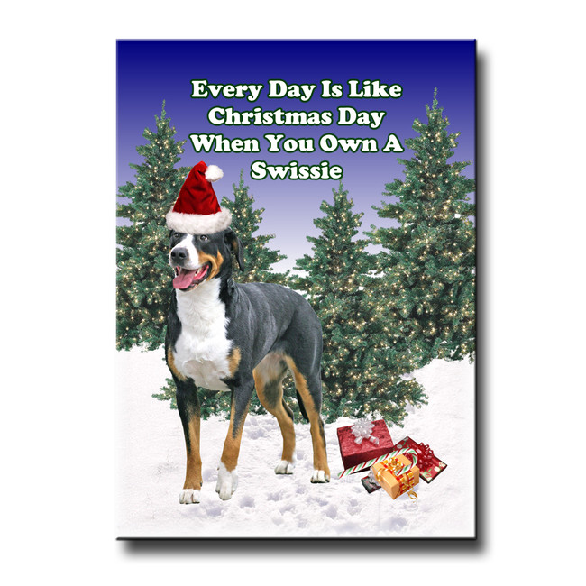 Greater Swiss Mountain Dog Christmas Holidays Fridge Magnet