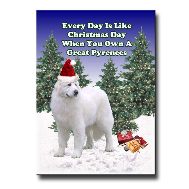 Great Pyrenees Christmas Holidays Fridge Magnet