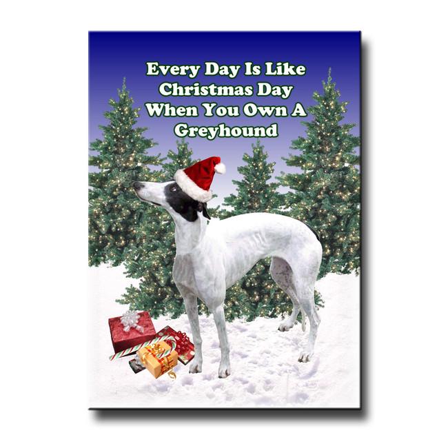Greyhound Christmas Holidays Fridge Magnet No 1