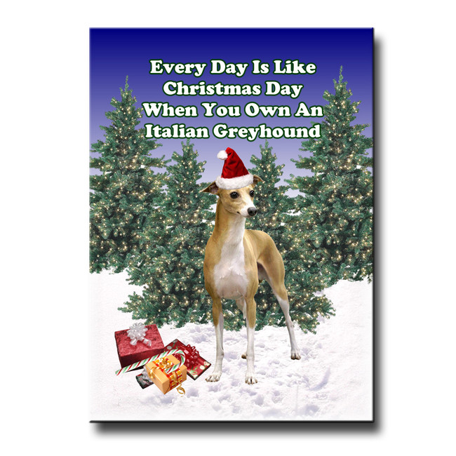 Italian Greyhound Christmas Holidays Fridge Magnet