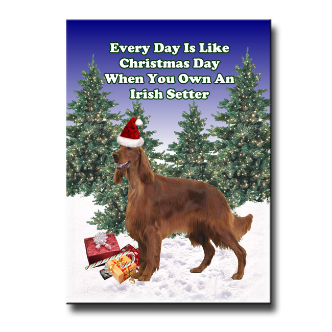 Irish Setter Christmas Holidays Fridge Magnet