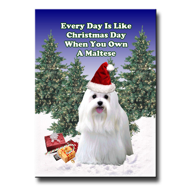 Maltese Christmas Holidays Fridge Magnet