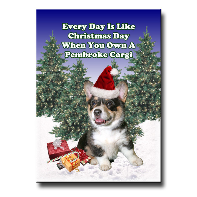 Pembroke Corgi Christmas Holidays Fridge Magnet No 2