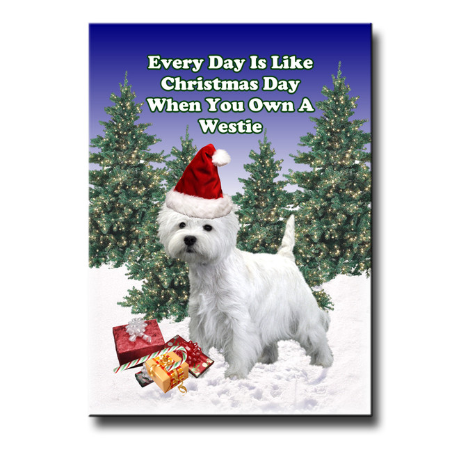 West Highland White Terrier Christmas Holidays Fridge Magnet