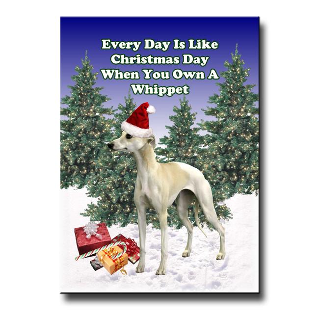 Whippet Christmas Holidays Fridge Magnet