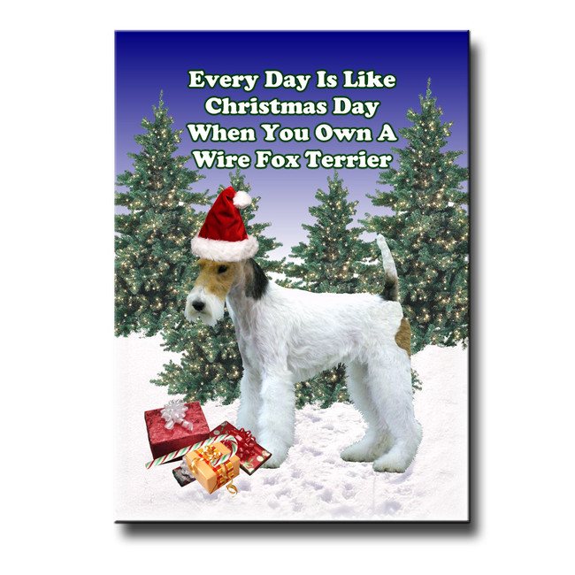 Wire Fox Terrier Christmas Holidays Fridge Magnet