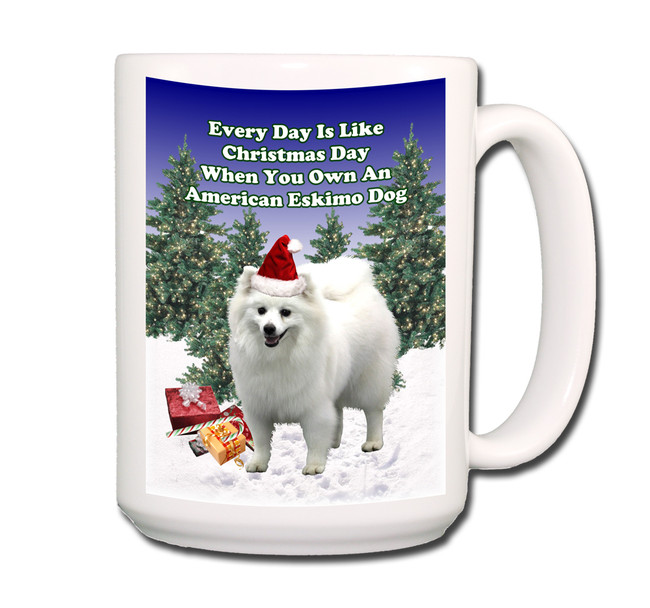 American Eskimo Dog Christmas Holidays Coffee Tea Mug 15oz