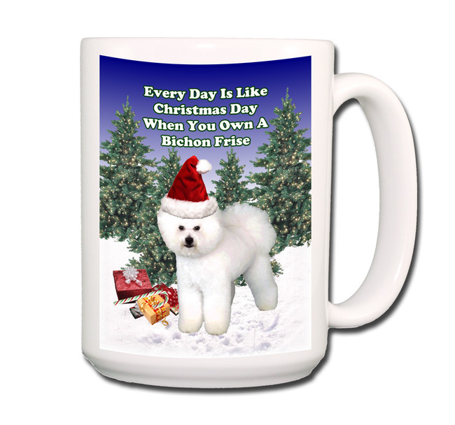Bichon Frise Christmas Holidays Coffee Tea Mug 15oz