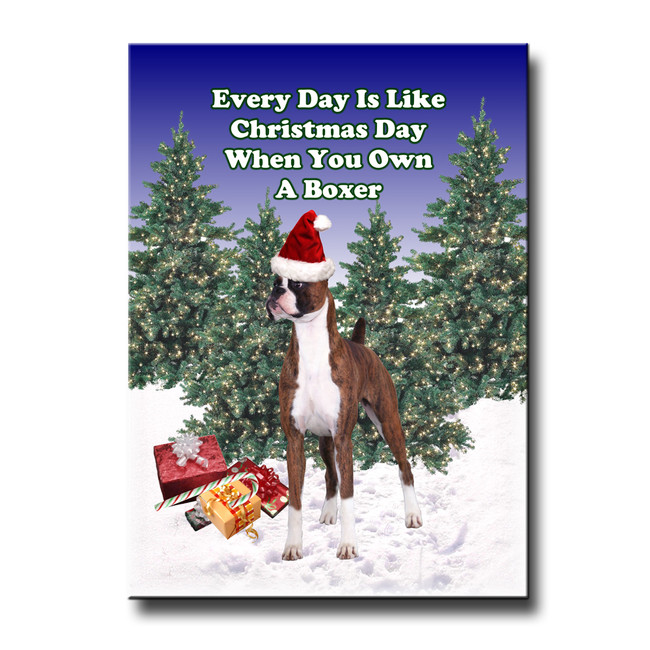 Boxer Christmas Holidays Fridge Magnet