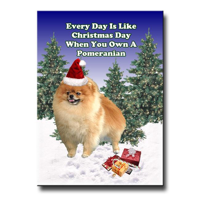 Pomeranian Christmas Holidays Fridge Magnet