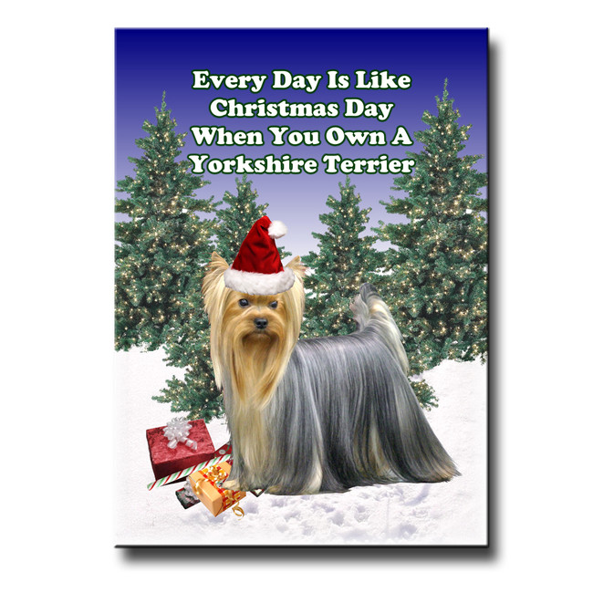 Yorkshire Terrier Christmas Holidays Fridge Magnet