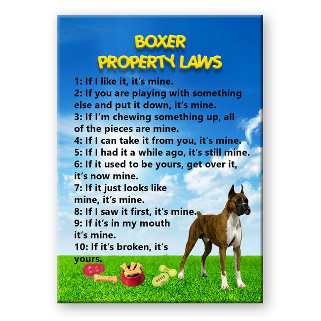 Boxer Property Laws Fridge Magnet