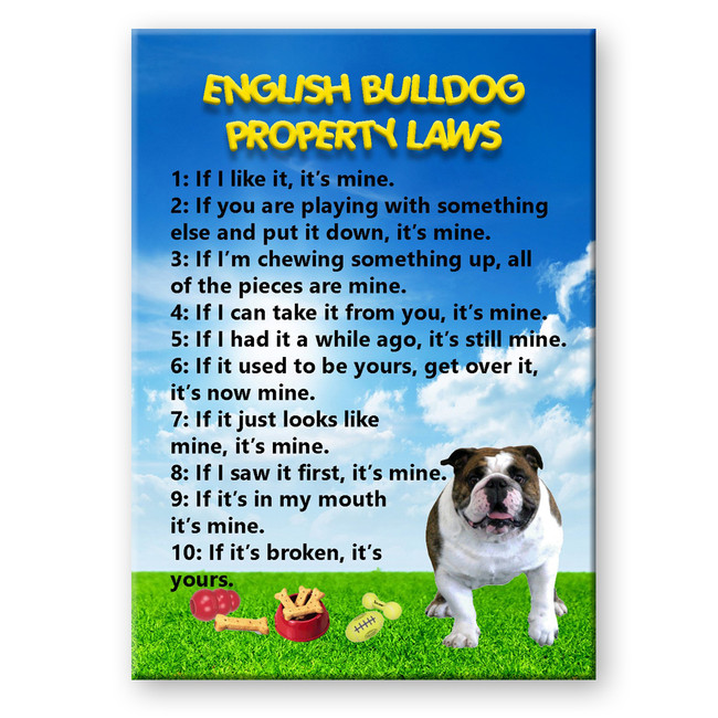 English Bulldog Property Laws Fridge Magnet No 1